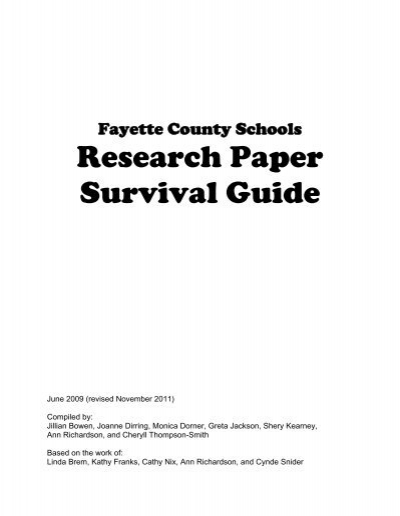 fayette county research paper survival guide