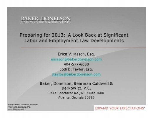 To Download Materials From This Seminar Baker Donelson