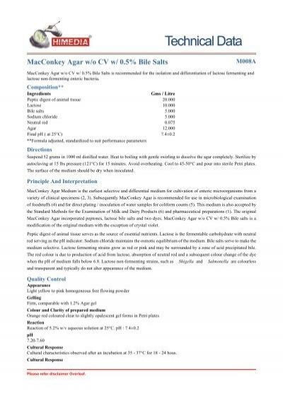 macconkey agar w  o cv w   0 5  bile salts