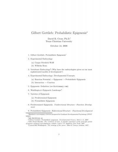 Gilbert Gottlieb: Probabilistic Epigenesis - David R  Cross