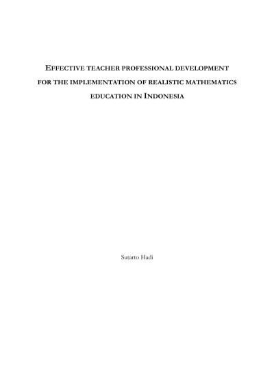 Effective Teacher Professional Development For The Implementation