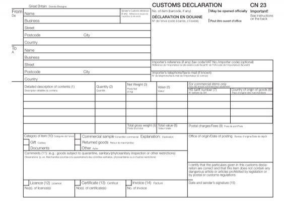 declaration douane cn23