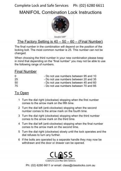Manifoil Combination Lock Instructions