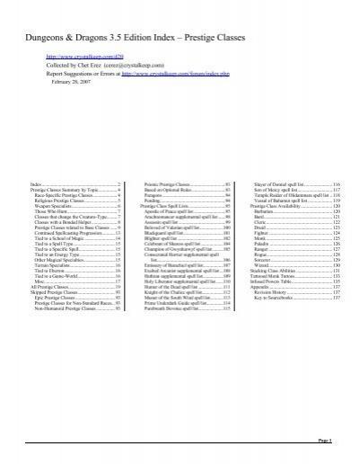 3 5 Index - Classes - Prestige - Chet Erez's d20 Index Files