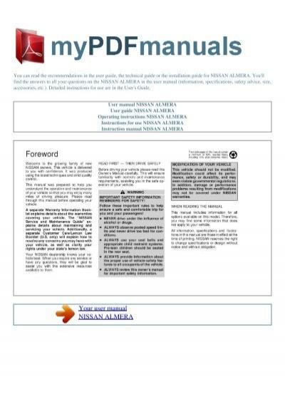 user manual nissan almera 1 my pdf manuals rh yumpu com Nissan Almera 2006 Nissan Altima