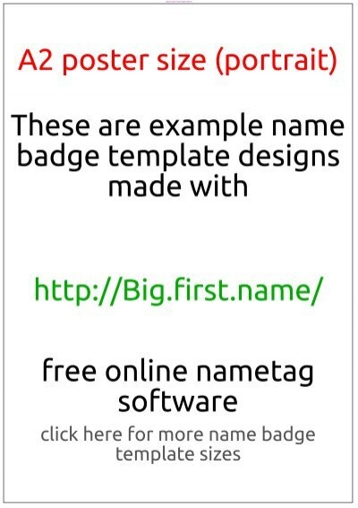 Badge Template A2 Poster Size (Portrait) - Name Badge Software