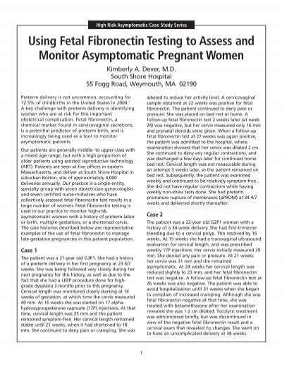 Using Fetal Fibronectin Testing to Assess and Monitor - OBG