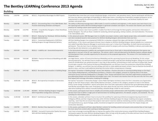 The Bentley LEARNing Conference 2013 Agenda