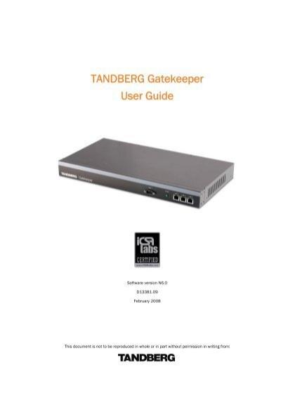 cisco tandberg gatekeeper user guide videoconferencia rh yumpu com tandberg 3000 mxp user manual Tandberg 1500 Power Supply