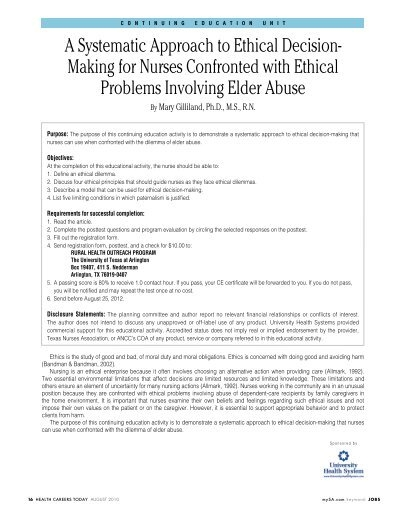 decision making for nurses Making the ethical decision nursing essay  nurses are entitled for decision making and reporting to reduce potential risks and to support safety practice.