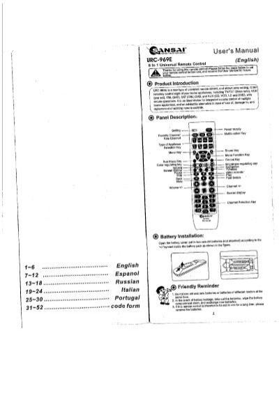 sansai urc l969 manual pdf