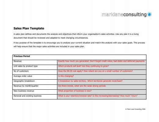 Sales Plan Template  Mark Lane Consulting
