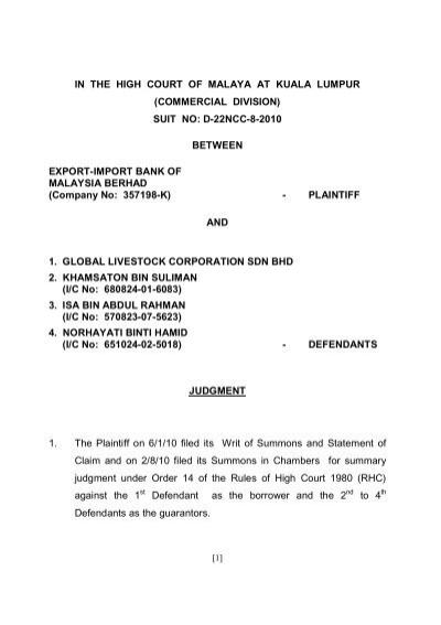 suit no: d-22ncc-8-2010 between export-import bank o