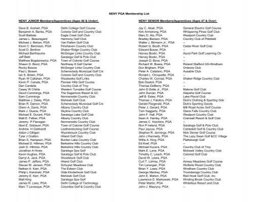 Neny Pga Membership List Neny Junior Members Apprentices