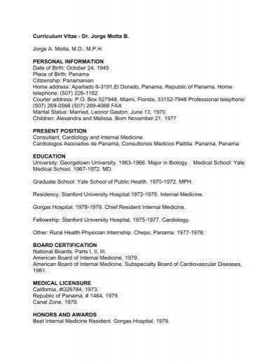 Curriculum Vitae Dr Cardiologos Asociados De Panama