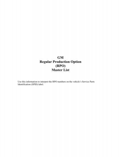 GM Regular Production Option (RPO) Master List - Longroof info