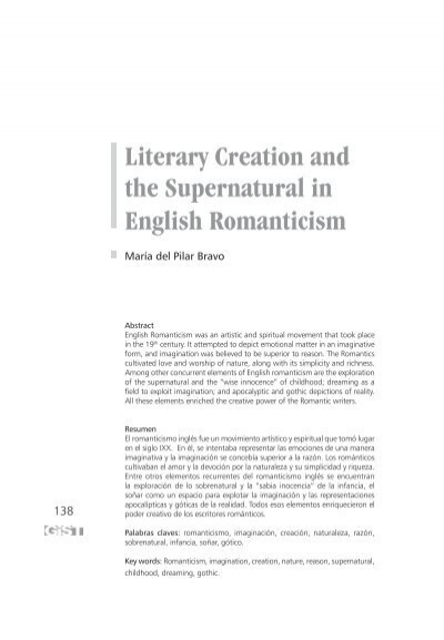 literary creation and the supernatural in english dialnet
