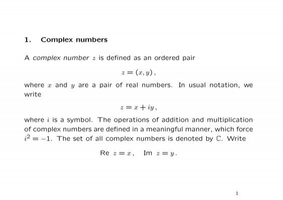1 Complex Numbers A Complex Number Z Is Defined As An Ordered