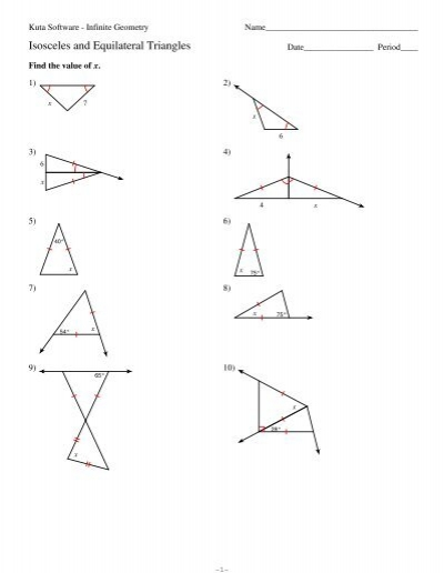 Worksheet Isosceles And Equilateral Triangles Worksheet 4 isosceles and equilateral triangles kuta software
