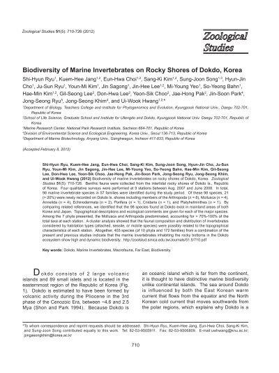 Biodiversity of Marine Invertebrates on Rocky Shores of