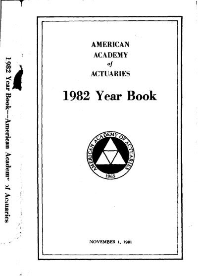 1982 Year Book American Academy Of Actuaries
