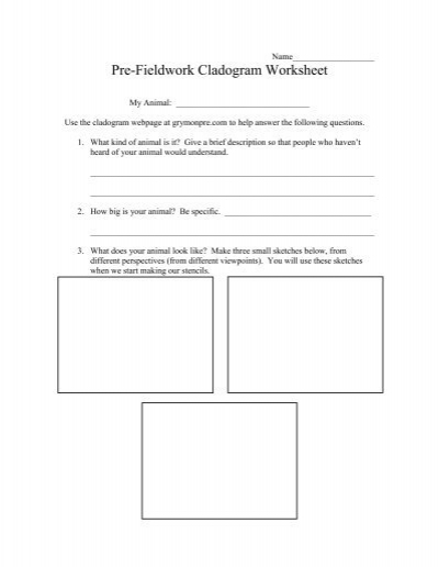 Pre-Fieldwork Cladogram Worksheet - Grymonpre.com