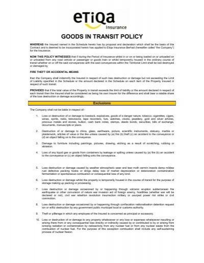 Goods In Transit Policy Etiqa Insurance Takaful