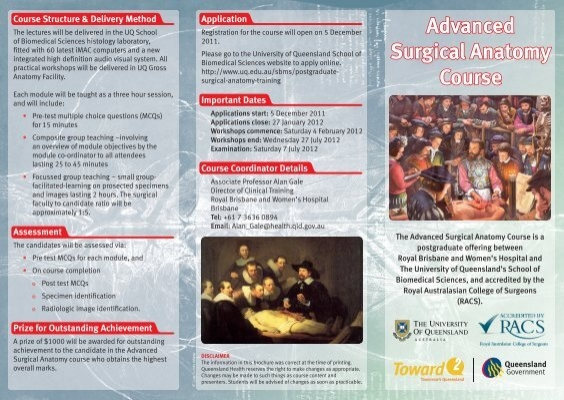 Advanced Surgical Anatomy Course - University of Queensland