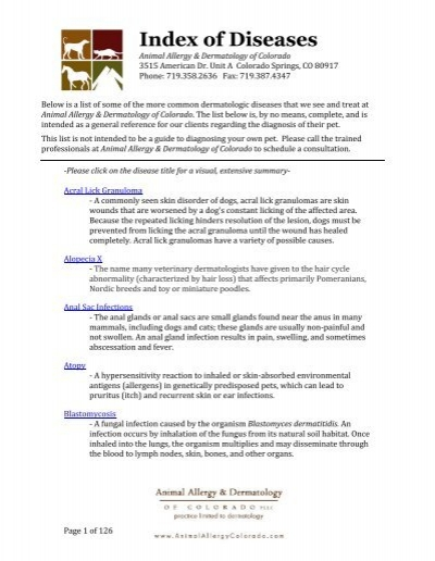 Index of Diseases - Animal Allergy & Dermatology of Colorado