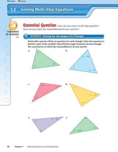 Solving Multi Step Equations 12 Big Ideas Math
