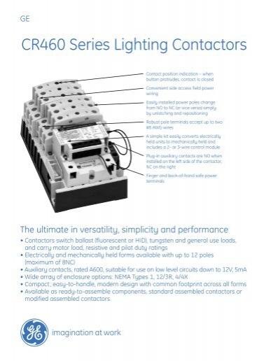 cr460 series lighting contactors pdf 261kb ge energy. Black Bedroom Furniture Sets. Home Design Ideas