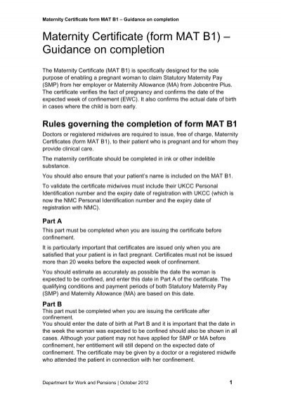 Maternity certificate form mat b1 guidance on completion yadclub Gallery