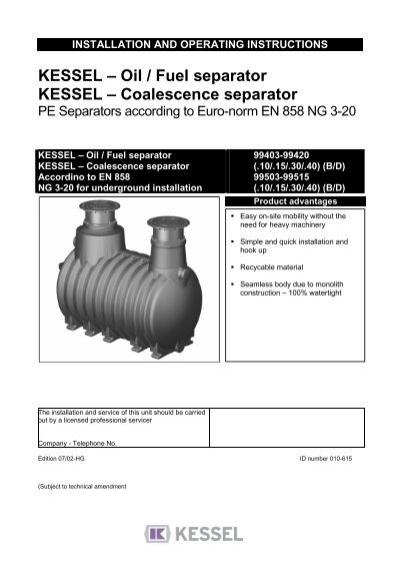KESSEL – Oil / Fuel separator KESSEL – Coalescence separator