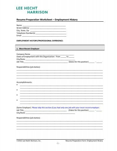 resume preparation form lee hecht harrison