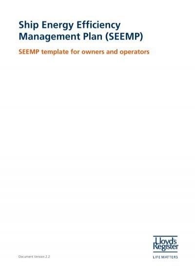 Ship Energy Efficiency Management Plan Seemp Lloyd S Register