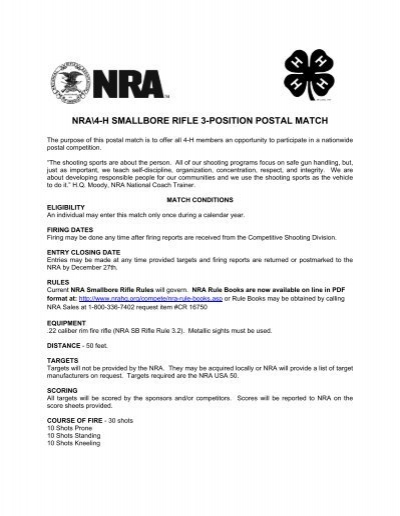 nra\4-h smallbore rifle 3-position postal match - NRA