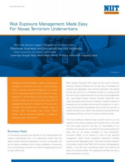 Risk Exposure Management Made Easy For     - NIIT Technologies