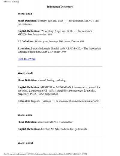 Indonesian Dictionary John Curran