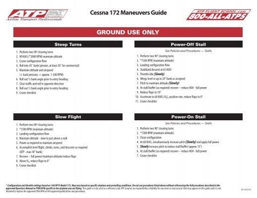 Cessna 172 Maneuvers Guide Atp Flight School