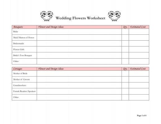 wedding flowers worksheet