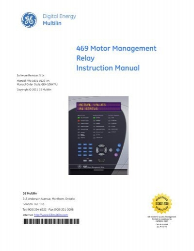 multilin 469 motor management relay ge digital energy rh yumpu com