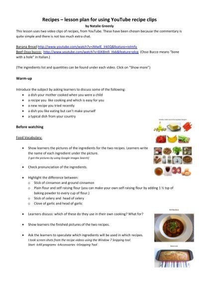 Esl writing a recipe lesson plan