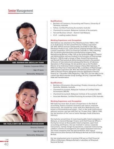Senior Management Chemical Company Of Malaysia Berhad