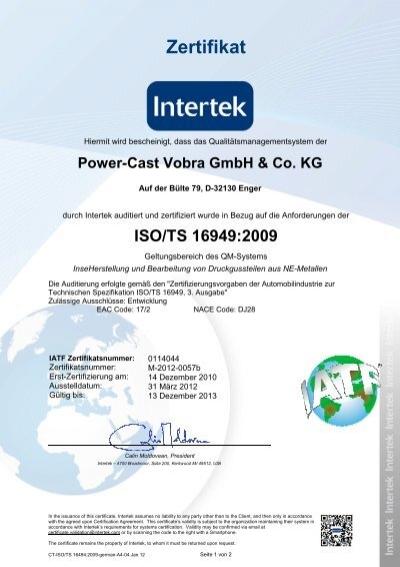 Zertifikat - POWER-CAST