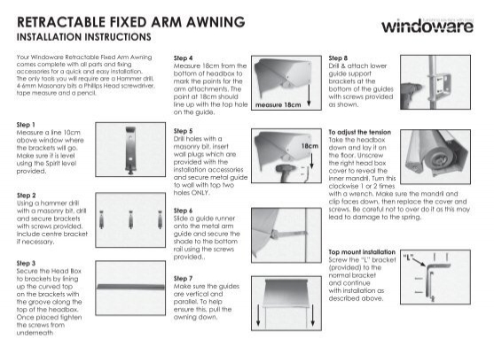 retractable fIxed arm awnIng - Windoware