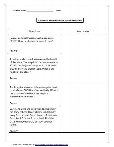 decimal word problems multiplication math worksheets for kids. Black Bedroom Furniture Sets. Home Design Ideas