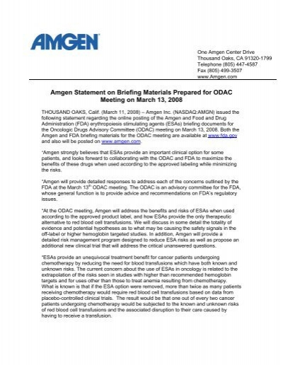 Amgen Statement on Briefing Materials Prepared for ODAC