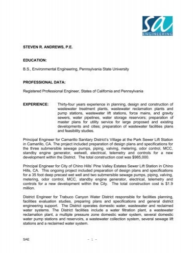 Essay In Community Service - Hotel Antares wastewater sample resume ...