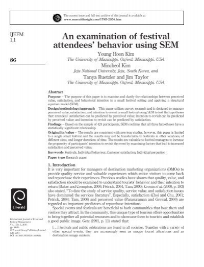 An Examination Of Festival Attendees Behavior Using SEM