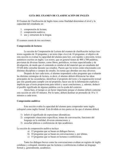 Guía Del Examen De Clasificación De Inglés Itam